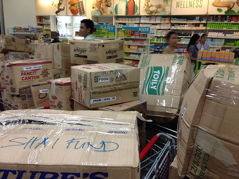 Aid boxes for Shai Fund relief operation in the Philippines