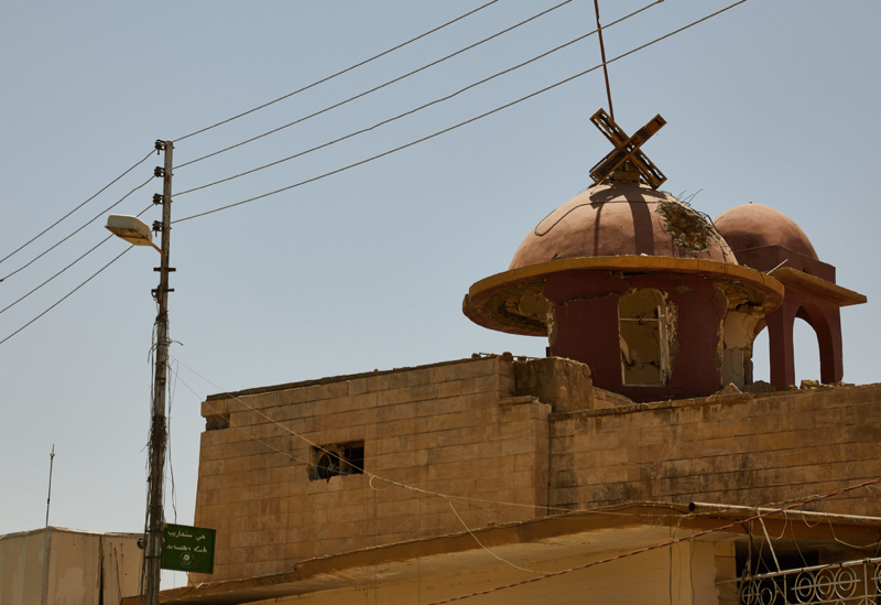 Crosses pulled down in church Qaragosh, Nineveh Plains