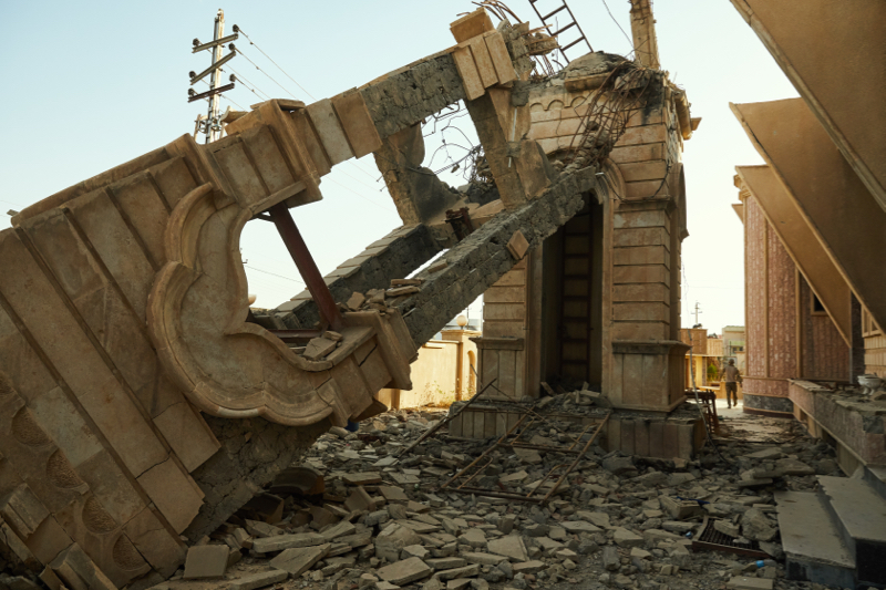 Destroyed church steeple Qaragosh, Nineveh Plains