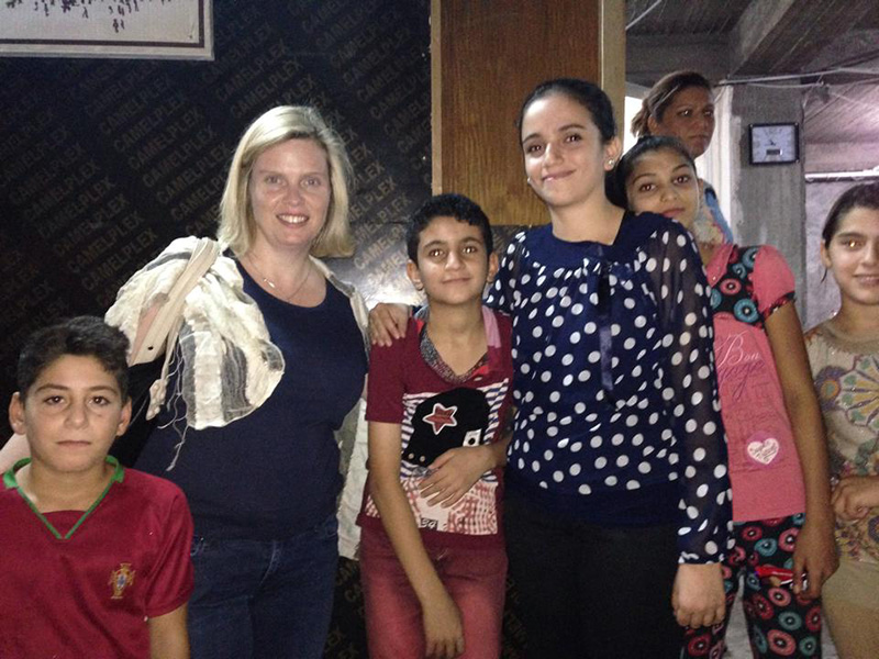 Charmaine with Christian refugees in Erbil