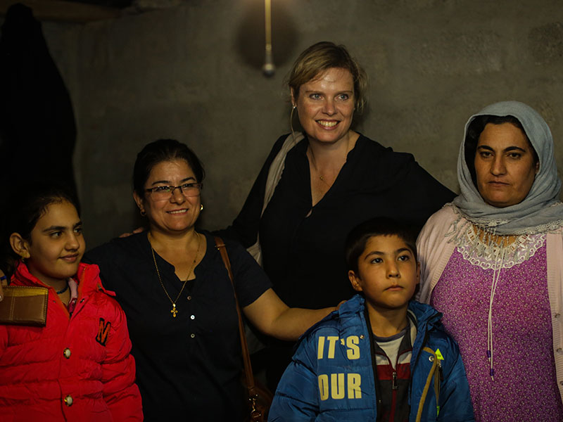Charmaine with Iraqi refugees