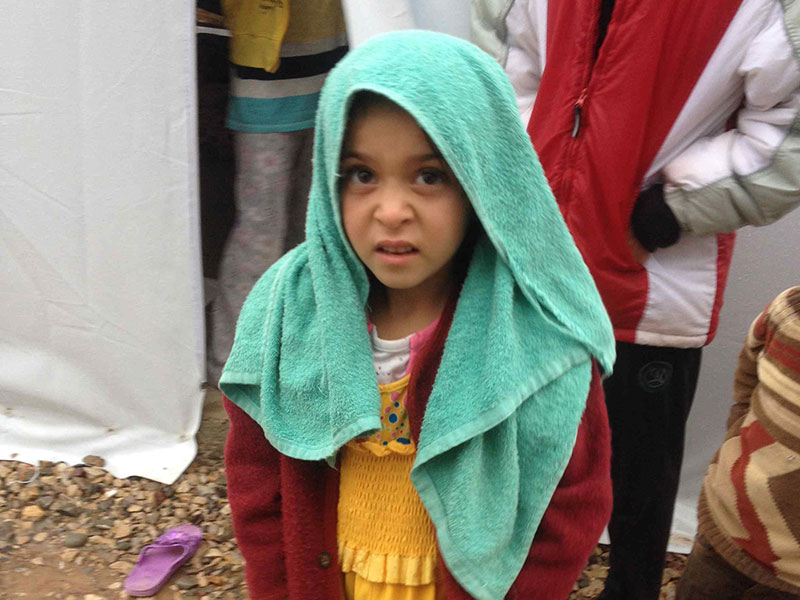 Girl in refugee camp